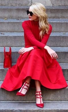 lady in red. beauty.