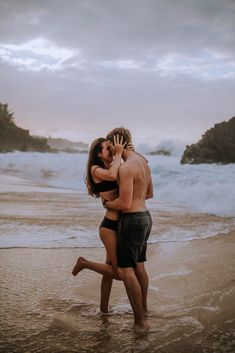 Cute couple Engagement session on Oahu Hawaii at Waimea Bay including posing inspiration and engagem Couple Beach Pictures, Honeymoon Pictures, Cute Couples Photos, Cute Couples Goals, Couple Goals, Couple On The Beach, Beach Pics, Couple Ideas, Couple Pics