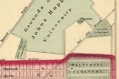 An 1876 map showing Laurel Cemetery.