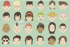 ethnic faces set 2 Royalty Free Stock Vector Art Illustration
