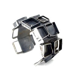 "Oxidized Sterling silver ""Be Square"" cuff."