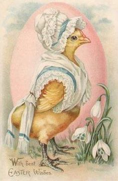 Vintage Easter postcard with anthropomorphic chick.