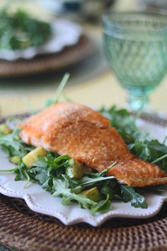 The Easiest & Healthiest Lunch- Salmon with Arugula, Zucchini & Asparagus - Cooking for Keeps