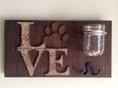 Pet leash and treat holder with some string art love!!