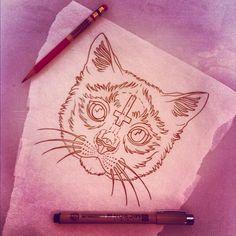 Love this cat tattoo design! Megan Massacre Art.