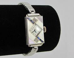 Art Deco 14K Elgin Watch Antique 1920s White Gold Diamond Sapphire 17 Jewel Watch Working Condition
