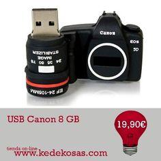Un USB replica cámara Canon de 8 GB.  Nuevo Gadget para los adictos a Canon. En un Clip puedes llevar todas tus fotos de un lado a otro.