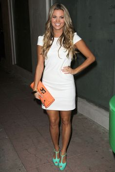 White dress with colored accents, so cute!