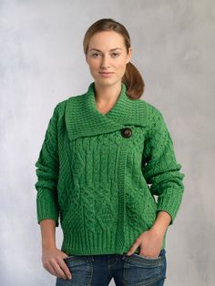 Aran Merino One Button Asymmetrical Cardigan
