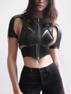Soft Armour - The Sleeved Soft Cut Out Harness, made with soft textured leather featuring a central zip detail and four large buckles to… Fashion Week, High Fashion, Womens Fashion, Moda Medieval, Alternative Mode, Leder Outfits, Leather Harness, Future Fashion, Gothic Fashion