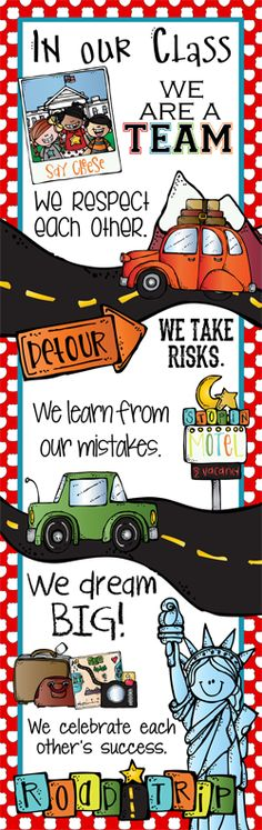 ROAD TRIP Theme Classroom Decor/ Character Education Banner / X-Large / In Our Class / Vistaprint.com / JPEG / ARTrageous FUN