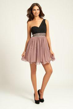 Little Mistress Black & Vintage Rose Embellished One Shoulder Dress