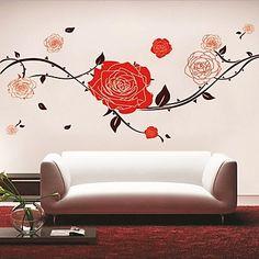 Rode bloem muur sticker - EUR € 10.72