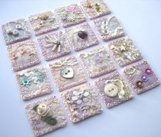 I started these little pale pink inchies when I was working on the romantic hear. - I started these little pale pink inchies when I was working on the romantic hearts collection. I set them aside for other projects and re… - Small Quilts, Mini Quilts, Fabric Art, Fabric Crafts, Diy Crafts, Cross Stitch Embroidery, Hand Embroidery, Inchies, Crazy Patchwork
