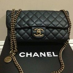 Chanel CC Crown in black calfskin