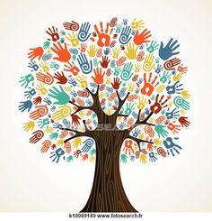 idée logo arbre avec empreinte de la main