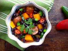 black bean, sausage and butternut squash chili
