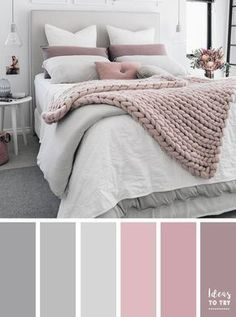 Bedroom colour palette - would look stunning with some gold accents! The perfect bedroom color palette! Bedroom ideas interior design bedroom makeover bedroom inspiration pretty bedding bedroom accessories home Pale Pink Bedrooms, Mauve Bedroom, Mauve Bedding, Grey Bedroom Paint, Grey Paint, Master Bedroom Grey, Blush Pink And Grey Bedroom, Pink Bedroom Decor, Grey Bedroom Furniture