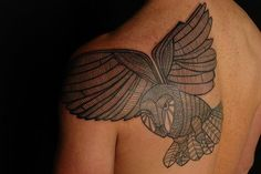 Check out some of the coolest owl tattoo designs in our huge guide! We also explain the symbolic meanings behind these awesome tats. Shane Tattoo, Tattoo You, Tribal Owl Tattoos, Animal Tattoos, Koru Tattoo, Owl Tattoo Meaning, Upper Back Tattoos, Owl Tattoo Design, Tattoo Designs And Meanings