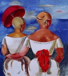 Jāzeps GROSVALDS | Latvian | Latvia 1891 –  Paris, France 1920 | Post-Impressionism, Modernism.  Ladies at the Seaside, n.d.