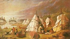07 camp au bord du lac Huron - wigwams en écorce de bouleaux et perches.jpg