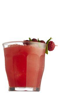 5 cl hyldeblomstsaft  3 cl ahornsirup  3 cl citronjuice  Pynt:  6 friske hindbær  8 mynteblade