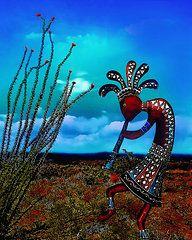New Mexico Art - Kokopellis Ocotillo Seranade  by Terril Heilman