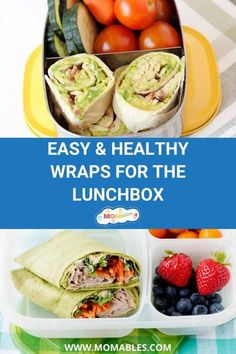 5 delicious wrap lunches made with fresh veggies, lean protein, and your favorite add-ins. Pack any of these for a healthy and simple school or office lunch. Lean Lunches, Healthy School Lunches, Box Lunches, School Snacks, Lunch Recipes, Real Food Recipes, Healthy Recipes, Healthy Food, Eat Lunch