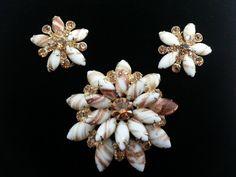 Juliana D & E Gold Fluss or Faux Adventurine Topaz Rhinestone Brooch Earring Set #Unbranded