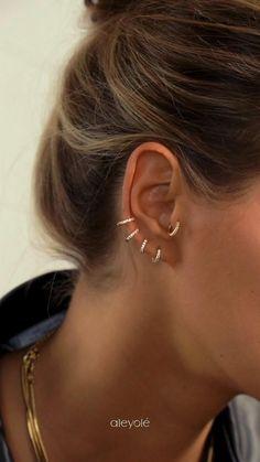 Pretty Ear Piercings, Ear Peircings, Types Of Ear Piercings, Bijoux Piercing Septum, Piercing Tattoo, Ear Jewelry, Cute Jewelry, Jewellery, Piercings Bonitos
