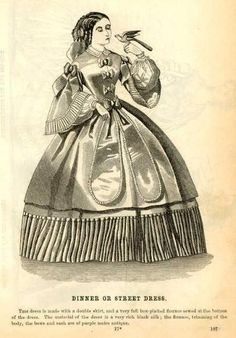 DINNER OR STREET DRESS, 1860-1865, Godey's Fashion Plate.  THIS dress is made with a double skirt, and a very full box-plaited flounce sewed at the bottom of the dress. The material of the dress is a very rich black silk; the flounce, trimming of the body, the bows and sash are of purple moiré antique.