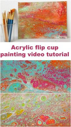 Video tutorial for how to acrylic pour paint with a flip cup for lots of pretty cells.