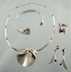 Bjorn Weckstrom Lapponia, Finland / Man from Mercury parure 1969 Cast sterling necklace, bracelet, ring and earrings.