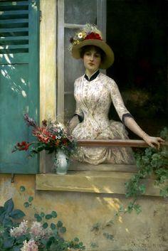 Mulher na janela olhando o jardim