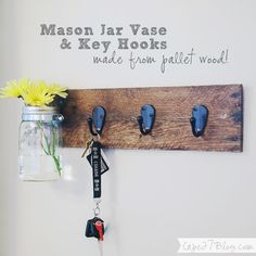 DIY Mason Jar Vase & Key Hooks Combo via Cape 27
