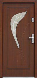 Drzwi zewnętrzne drewniane wzór 458,3+ds1 w kolorze orzech