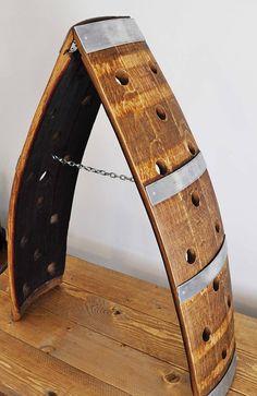 Made from retired oak wine barrel Oak Wine Rack, Wood Wine Racks, Wine Rack Wall, Wine Wall, Wine Barrel Crafts, Whiskey Barrel Furniture, Barrel Projects, Diy Projects, Wine Tasting Notes
