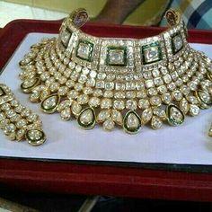 Indian Wedding Jewelry, Indian Jewelry, Bridal Jewelry, Jewelry Sets, Fine Jewelry, Trendy Jewelry, Rajputi Jewellery, Diamond Necklace Set, Bollywood Jewelry