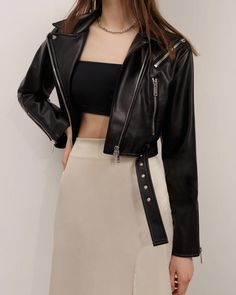 #jacket #cropjacket #bikerjacket #outerwear #springouterwear #summer2021 #women'souterwear #casualouterwear #womensjacket #everydaystyle #casualstyle #outfits #ecoleatherjacket #streetstyle #fashionstyle #lichibrand #lichishop #lichiouterwear Airport Style, Airport Fashion, Online Fashion Stores, Korean Outfits, Metal Buckles, Cute Casual Outfits, Vegan Leather, Biker, Winter Fashion