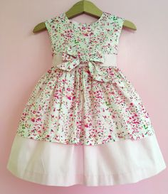 Pink Floral Party Dress - Designer Baby Girl Dress - Handmade in the UK - - by BonitoBabyWear on Etsy Baby Girl Party Dresses, Little Girl Dresses, Baby Dress, Girls Dresses, Frocks For Girls, Kids Frocks, Cotton Frocks, Kids Dress Wear, Baby Frocks Designs
