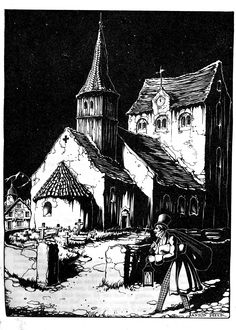 Dream Illustration, Black Paper Drawing, Anton Pieck, Examples Of Art, City Painting, Fairytale Art, Dutch Painters, Dutch Artists, Watercolor Sketch