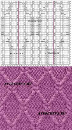 Узор спицами 975 «Ромбы из кос»   каталог вязаных спицами узоров