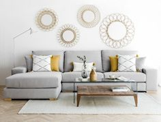 ▷ 1001 + secrets for successful mustard yellow decor Sofa Gris, Yellow Ornaments, Mustard Yellow Decor, Decoration Gris, Living Room Decor, Bedroom Decor, Home Staging, Home Accessories, House Design