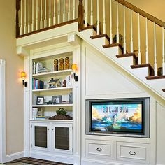 under stairs storage ideas, TV units and bookshelves
