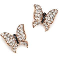 White and Black Diamond Butterfly Stud Earrings in 14K Rose Gold (23 050 ZAR) ❤ liked on Polyvore featuring jewelry, earrings, lullabies, studs, diamond jewelry, rose gold earrings, 14k rose gold earrings, butterfly jewelry and 14k earrings