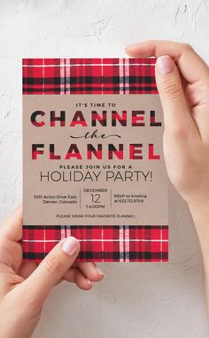 Buffalo Plaid Christmas Party Invitation. Host a flannel Holiday party this season with our Channel the Flannel printable invitation #christmasparty