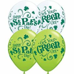 """11"""" St. Pat's Get Your Green On Around (100 per package) by Qualatex. $61.29. 100/bag Assorted White And Lime Green With Green Ink"""