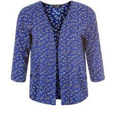 Petite Blue Floral Print Drop Pocket Kimono