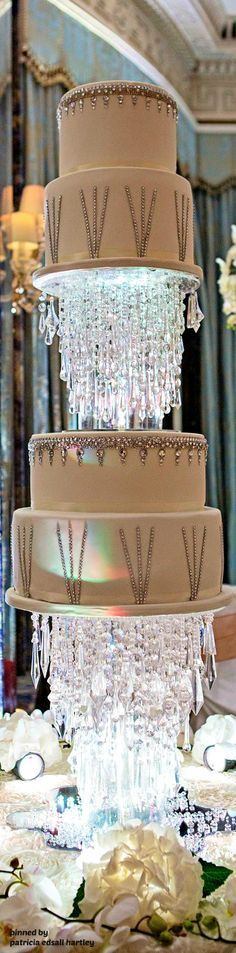 This five-tiered cake stood six feet tall and had over 4,000 Swarovski Crystals.