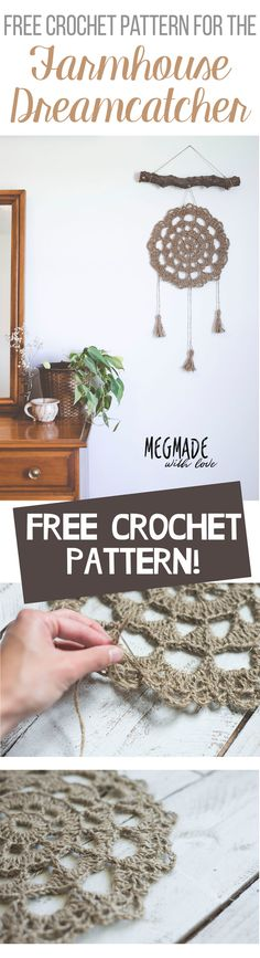 "A Free Pattern for the Jute Farmhouse ""Dreamcatcher"" Wall Hanging— Megmade with Love"